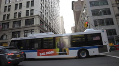 Bus 5th Ave Cars Traffic Driving New York City NYC Manhattan 4K Stock Footage
