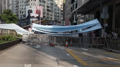 Protest Road Block In Hong Kong Occupy Central Stock Footage