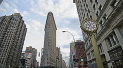 Flatiron Building 5th Ave Clock Manhattan New York City NYC Traffic Taxis  - stock footage