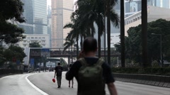 Protesters Walk Empty Streets In Hong Kong During Occupy Central Movement Stock Footage