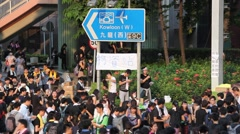 Protesters Fill Streets of Hong Kong Occupy Central Movement Stock Footage