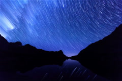 Milky Way hides dawn. Track. Time Lapse. 4K+ Stock Footage