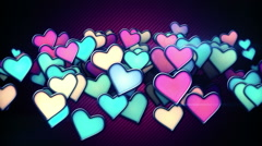 Glowing colorful hearts loop background Stock Footage
