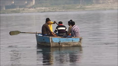 Boating in river Yamuna / timelapse Stock Footage