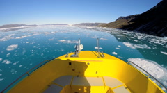 POV Disko Bay World Heritage Site Travel Tourism Melting Glacial Environment - stock footage