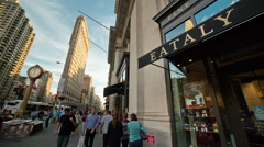 Stock Video Footage of Eataly Restaurant New York City Manhattan 5th Ave NYC Crowded Flatiron Clock