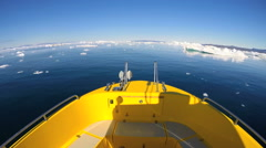 POV Boat Eco Tourism Greenland Travel Iceberg Global Warming Remote Environment - stock footage