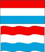 Flat and waving Luxembourg Flag. Vector - stock illustration
