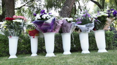 Wedding bouquets in vases Stock Footage