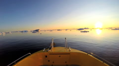 Disko Bay POV Sunset Eco Tourism Boat Travel Glacial Drifting Frozen Mass Stock Footage