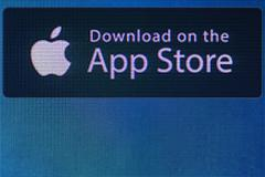 App store icon on the computer screen Stock Photos