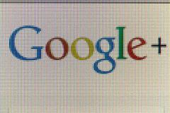 Google icon on computer screen Stock Photos