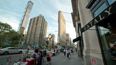 Eataly Restaurant New York City Manhattan 5th Ave NYC Crowded Flatiron Clock Stock Footage