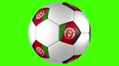 Stock Video Footage of Afghanistan soccer ball rotation on green background