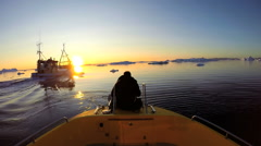 POV Drifting Melting Icebergs Boat Frozen Polar Icecap Rising Sea Temperatures - stock footage