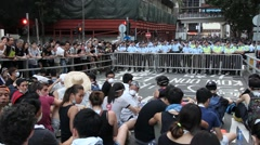 Protesters Face Police Line Hong Kong Occupy Central Stock Footage