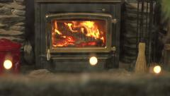 A Winter's Night - cosy fire indoors Stock Footage