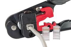 Mounting clamps, connectors and cable Stock Photos