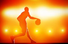 basketball player silhouette dribbling with ball on red background with actio - stock illustration