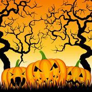 three pumpkins and trees - stock illustration