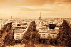 Rooftop view on the eiffel tower from arc de triomphe. sunny day, blue sky. t Stock Photos