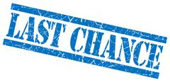 last chance blue grungy stamp on white background - stock illustration