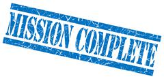 Mission complete blue grungy stamp on white background Stock Illustration