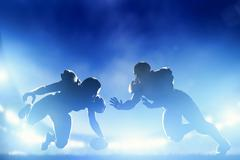 american football players in game, touchdown. night stadium lights - stock illustration