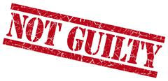 Stock Illustration of not guilty red grungy stamp on white background
