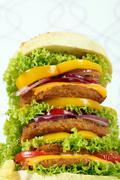 big hamburger closeup fast food - stock photo