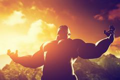 very muscular strong man with hero, athletic body shape expressing his power  - stock illustration