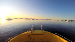 Disko Bay POV Sunset Eco Tourism Boat Travel Glacial Drifting Frozen Mass - stock footage