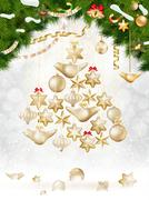 Christmas balls hanging on fir tree. EPS 10 Stock Illustration