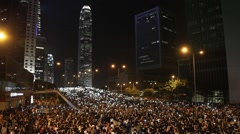 Huge Protest Crowds Hong Kong Occupy Central Stock Footage