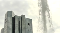 European central bank with fountain in shot 1 Stock Footage