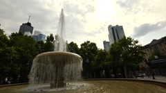 Fountain with the ECB in the background Stock Footage