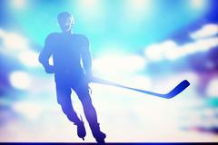 Hockey player skating on ice in full arena night lights Stock Illustration