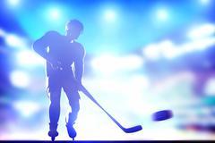 Hockey player shooting on goal in full arena night lights Stock Illustration