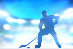 Hockey player skating with a puck. full arena night lights Stock Illustration