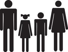 Silhouette family. Icon woman, man, boy, girl Piirros