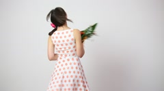 Happy young woman with bouquet from gerber Stock Footage