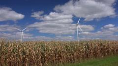 Windmill turbines generating energy in corn field - stock footage