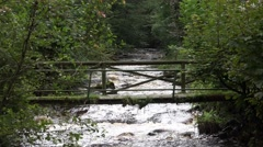 4k Very old wooden bridge over wild river closeup in forest Stock Footage