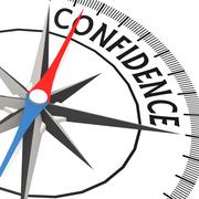 compass with confidence word - stock illustration