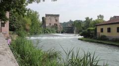 Valeggio on the Mincio day exterior whit castle-001 Stock Footage