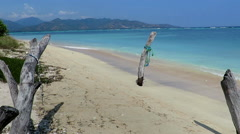 Beautiful beach with driftwood on Gili Air island Stock Footage