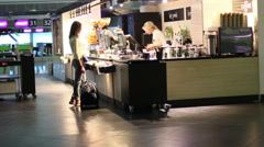 Cafe At The Airport Stock Footage