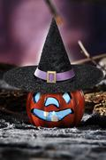 Halloween scene on dark background Stock Photos