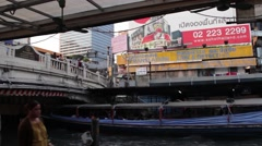 ASIA TRANSPORTATION (BOATS) - Wide shot canal with overpass and people Stock Footage