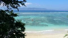 Idyllic beach with beautiful turquoise sea, white sand and greenery Stock Footage